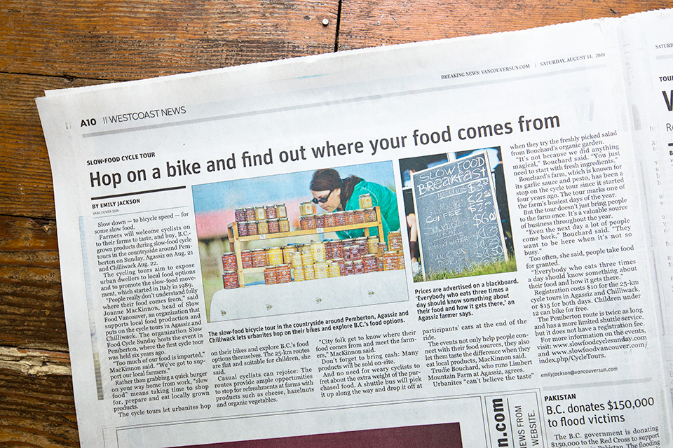 Slow Food Cycle Tour - Agassiz BC - article in Vancouver Sun and slideshow